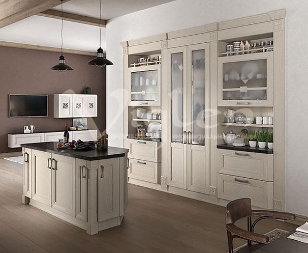 белый дуб современная кухня модерн фото